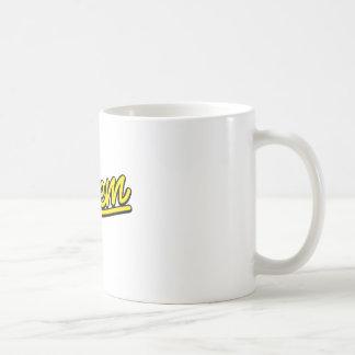 Salem neon sign in yellow coffee mug