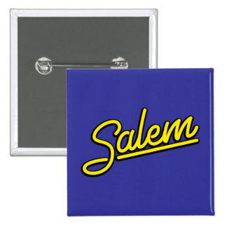 Salem neon sign in yellow pinback button