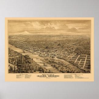 Salem, OR Panoramic Map - 1876 Poster