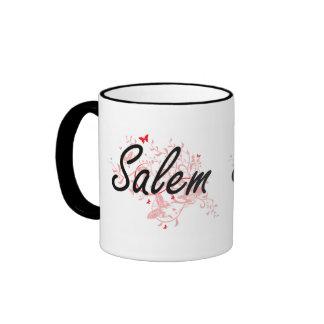 Salem Oregon City Artistic design with butterflies Ringer Mug