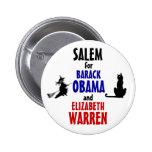 Salem para Obama y Warren 2012 Pin
