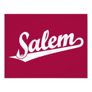 Salem script logo in white distressed card