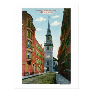 Salem Street View of Old North Church Bldg # 2 Postcard