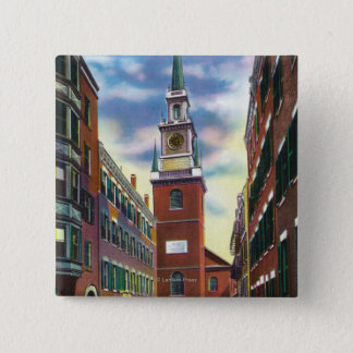 Salem Street View of Old North Church Bldg Pinback Button