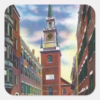 Salem Street View of Old North Church Bldg Square Sticker
