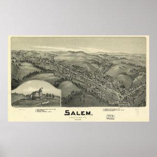 Salem W. Virginia 1899 Antique Panoramic Map Poster