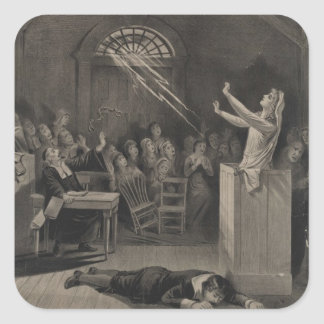 Salem Witch Trial Illustration Square Sticker