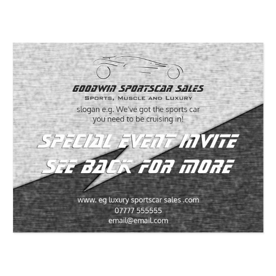 Sales Event Invite - metal effect, sportscar logo Postcard