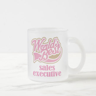 Sales Executive Pink Gift Frosted Glass Coffee Mug