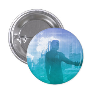 Sales Meeting with Businessmen Shaking Hands Pinback Button