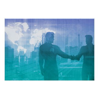 Sales Meeting with Businessmen Shaking Hands Poster