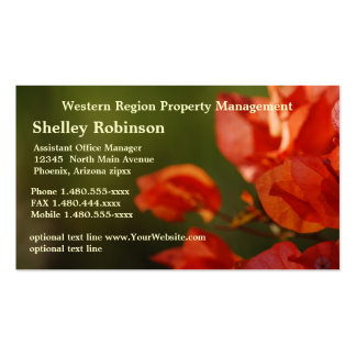 Sales or Administrative Poppy Colored Flowers on G Business Card Template