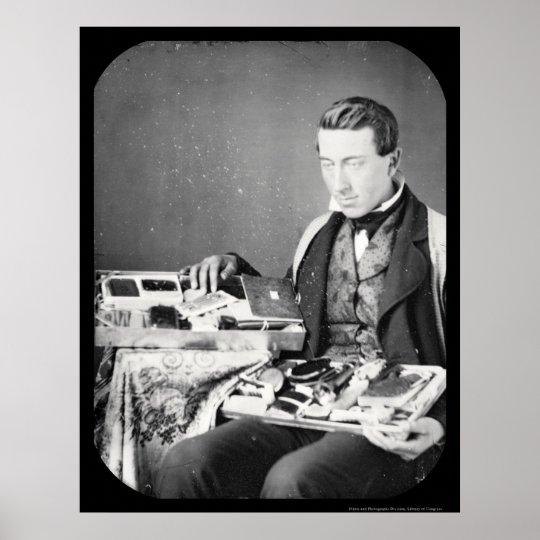 Salesman Displaying His Wares Daguerreotype 1852 Poster