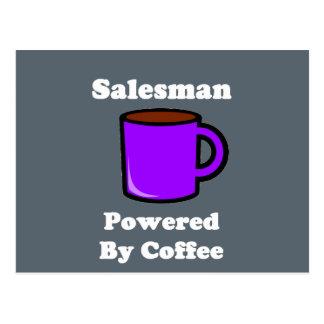 """Salesman"" Powered by Coffee Postcard"