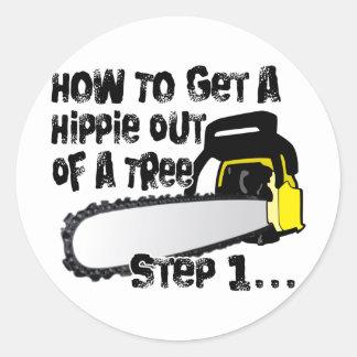 Salga a los hippies de sus árboles pegatina redonda