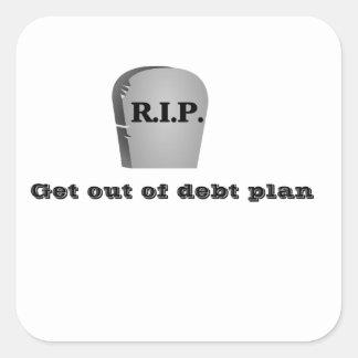 Salga de los pegatinas del plan de la deuda pegatina cuadrada