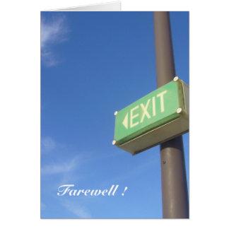 salga el adiós tarjeta de felicitación