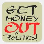 ¡Salga el dinero! Calcomania Cuadradas Personalizada