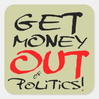 ¡Salga el dinero Calcomania Cuadradas Personalizada