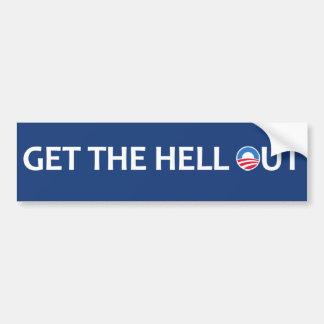 Salga el infierno etiqueta de parachoque