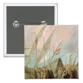 Salida de Cristóbal Colón de Palos Pin Cuadrada 5 Cm