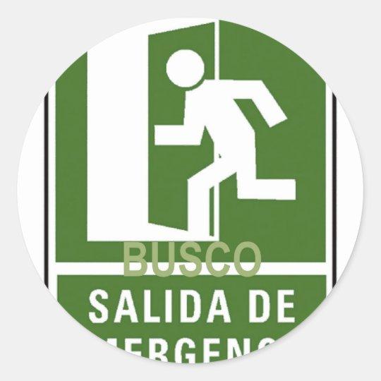 SALIDA DE EMERGENCIA CLASSIC ROUND STICKER