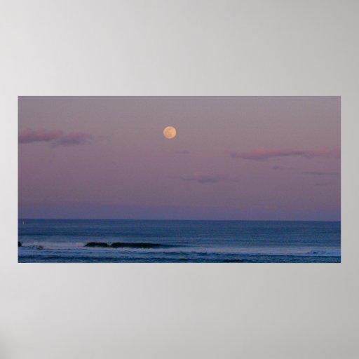 Salida de la luna de la isla del ciruelo póster