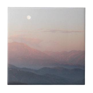 Salida de la luna de la montaña de San Bernardino Azulejo Cuadrado Pequeño