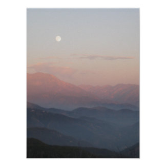 Salida de la luna de la montaña de San Bernardino Póster