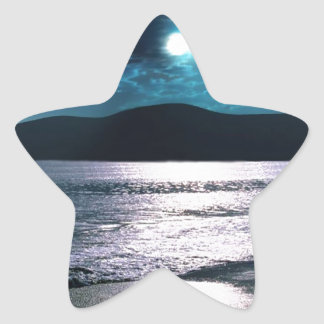 Salida de la luna de la playa de la tranquilidad pegatina en forma de estrella