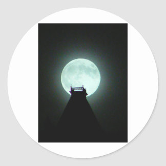 Salida de la luna de Olana Pegatina Redonda