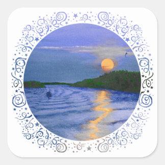 Salida de la luna en el río pegatina cuadrada