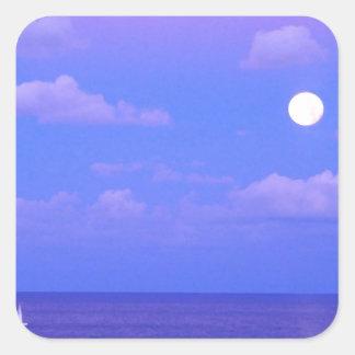 Salida de la luna encantada mar Cancun Pegatina Cuadrada