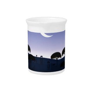 Salida de la luna jarras para bebida