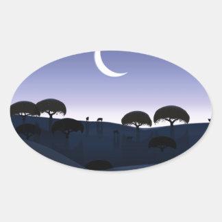 Salida de la luna pegatina ovalada