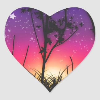 Salida de la luna rosada púrpura azul de la puesta calcomanías corazones personalizadas