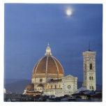 Salida de la luna y catedral de Florencia, di de l Azulejo Cuadrado Grande