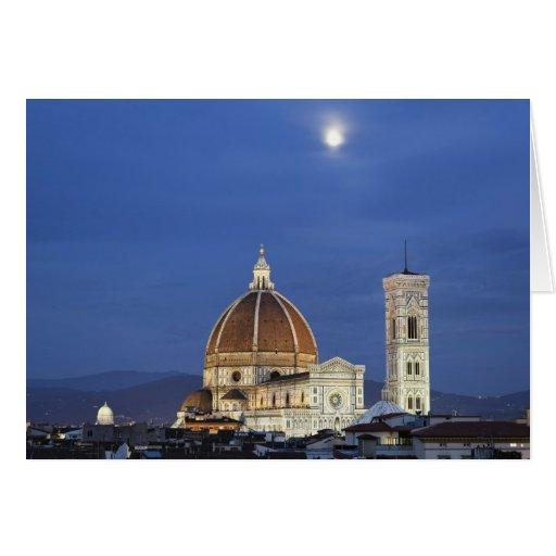 Salida de la luna y catedral de Florencia, di de l Tarjeta De Felicitación