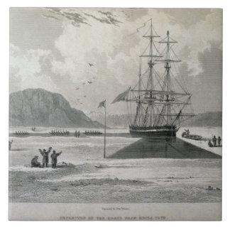 Salida de los barcos de la ensenada de Hecla, el 2 Azulejo Cuadrado Grande