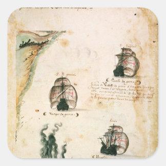 Salida de Vasco da Gama Pegatina Cuadrada