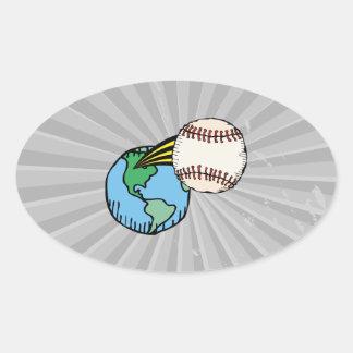 salida del béisbol de este mundo pegatina ovalada