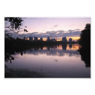 Salida del sol 3 del lago ladybird - horizonte de  fotografía