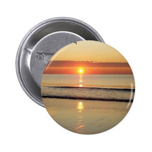 Salida del sol a lo largo de la playa New Hampshir Pin Redondo 5 Cm