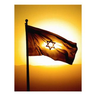 Salida del sol a través de la bandera israelí membrete a diseño