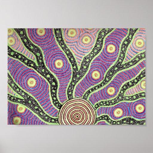 Salida del sol aborigen impresiones
