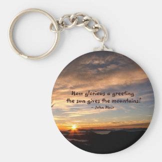Salida del sol ahumada de Mtn/cómo es glorioso… J Llavero Redondo Tipo Pin