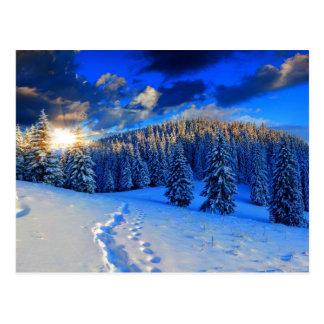Salida del sol azul del invierno postal