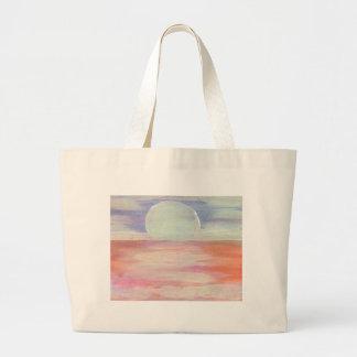 Salida del sol azul del paisaje marino del rosa en bolsa de mano