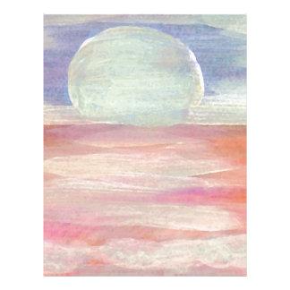 Salida del sol azul del paisaje marino del rosa en membrete