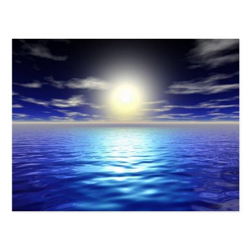 Salida del sol azul postales
